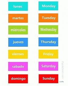 Dni tygodnia po hiszpańsku