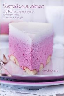 """Sernik na zimno na jogurtach greckich z musem malinowym """"light"""" – przepis ilo..."""