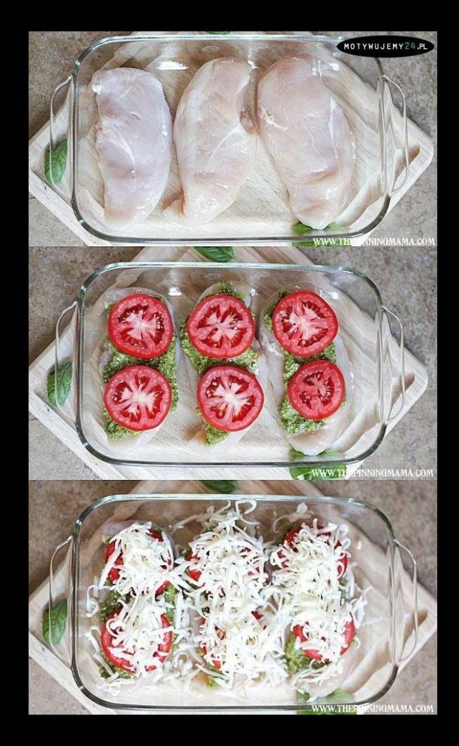 Kurczak zapiekany ze szpinakiem serem i pomidorami. zdrowy, pyszny i szybki w wykonaniu. Można przekroić fileta na pól i do środka włożyć pomidory lub ser.
