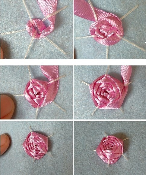 Розы плоские из атласных лент пошаговая инструкция