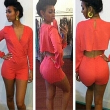 Sexy Deep V-neck Hollow Out Long Sleeve Nightclubs Jumpsuits