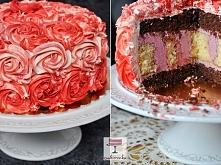 Wymyślny tort RÓŻE z owocow...