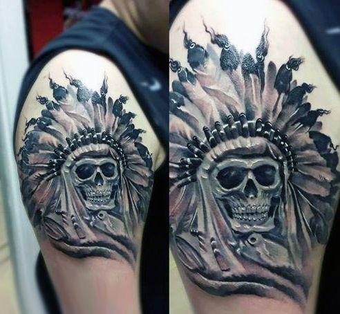 Tatuaże Męskie Indiańska Czaszka Na Tatuaże Zszywkapl