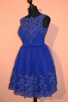 Sukienka tiulowa, koronkowa, koronka koderowa w kolorze chabrowym, elegancka ...