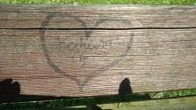 Napis na ławce w parku <3