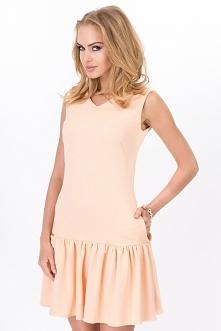 Brzoskwiniowa sukienka na l...