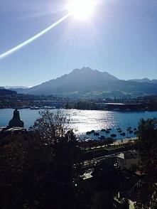 Lucerna, Szwajcaria  widok na jezioro i górę Pilatus  daisies.blog.pl