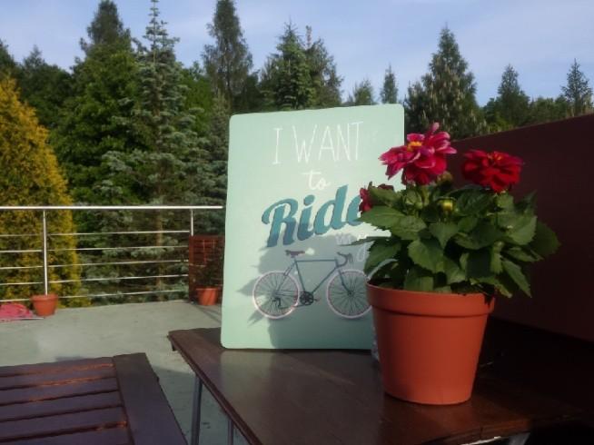 moj taras. barierki mąż spawal w weekend. i nowy obrazek- dla męża- fana jazdy na rowerze :-)