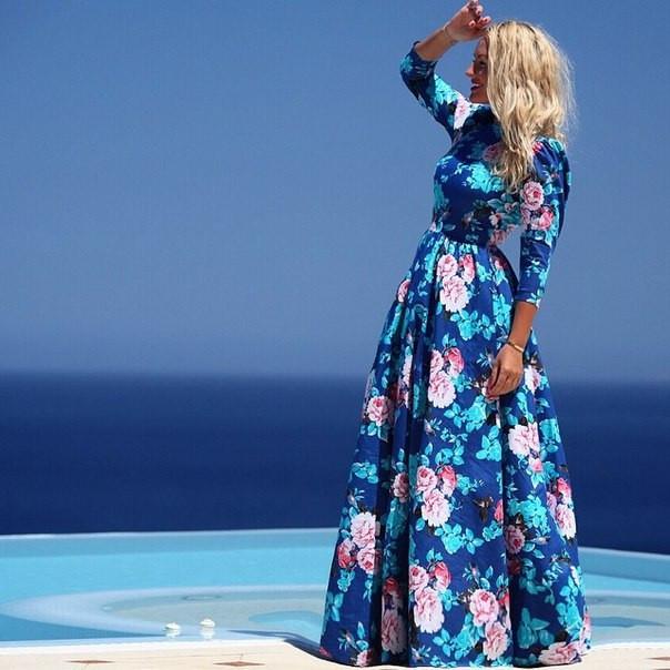 Piękna Suknia Sukienka Maxi Długa W Kwiaty Niebieska Różowe Kwi Na