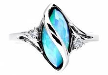 WZ 257 Wyjątkowy pierścionek zaręczynowy z białego złota próby 585 z opalem w...