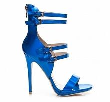 NIEBIESKIE SANDAŁY . SANDAŁY NA OBCASIE - sklep z butami  eleganckimi -stylow...