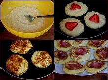 Kokosowe placuszki z truskawkami  Kliknij w zdjęcie i zobacz przepis! :)