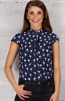 Infinite You M061 koszula granat flamingi Stylowa bluzka - rękawek typu skrzy...