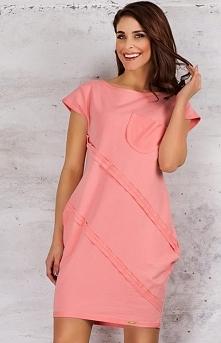 Infinite You M058 sukienka róż Niebanalna sukienka - krótki rękaw