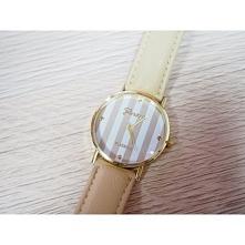 Zegarek w paski - kremowy - 16,99zł - klik w zdjęcie