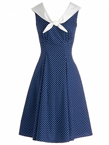 Retro 50s Audrey Hepburn Style Dress Blue Polka Dot Sleeveless Navy Collar Vi...