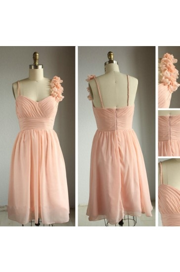 2014 New Arrival Wedding Bridesmaid Dresses with Knee Length Ruched Chiffon Strapless Dress