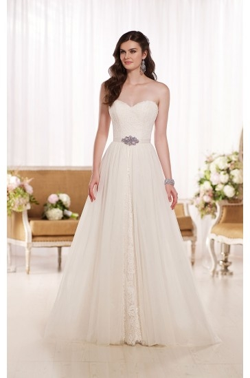 Essense of Australia A Line Lace Wedding Dress Style D1809