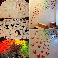 przepiękne motylki na ścianę - nieco pracochłonne, ale efekt zachwycający ;)