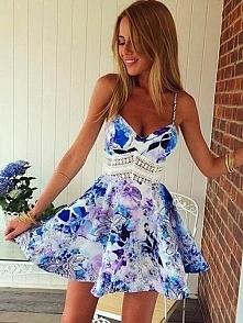 Purpurowy mody szyi Kwiaty Wydrukowano Swing Pasy Mini Princess Dress