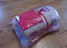 różowy zestaw na prezent dla dziewczynki kocyk + poduszka + apaszka minky sowy