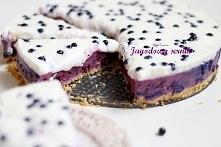 sernik jagodowy bez pieczenia, pod pierzynką z jogurtu naturalnego - przepis ...