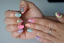 neonowe sówki manicure hybr...