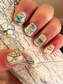 Paznokcie ze wzorkiem mapy ...