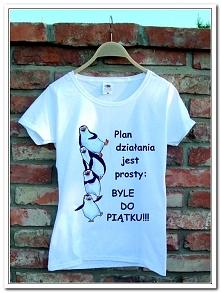 Pingwiny - koszulka ręcznie malowana / handmade ! - rozm S. pytania proszę kierować na maila : agneska24@gmail.com