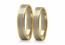 ST 248 Dwukolorowe obrączki ślubne z białego i żółtego złota próby 585 z wyją...