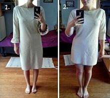 Wyglądałam w tej sukience jak parobek.. haha więc obcięłam te bufiaste rękawy...