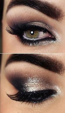 make-up z brokatem