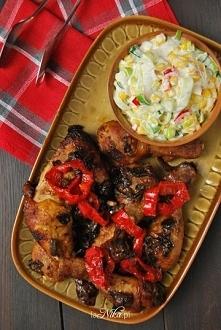 Kurczak z suszonymi śliwkami oraz sałatka z pora. Przepis po kliknięciu w zdjęcie