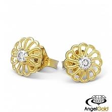 Delikatne kolczyki kwiatki wykonane w całości ze złota próby 333.