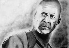 Bruce Willis A3, ołówek, węgiel