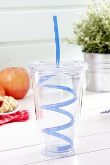 Kubek plastikowy ze słomką KIDS BLUE 500 ml. Plastikowy, wygodny kubek z uchw...