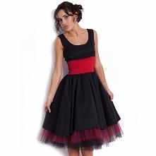 Czarna sukienka balowa z tiulem KM30