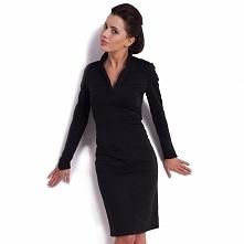 Czarna sukienka z dzianiny KM08