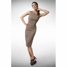 Beżowa sukienka do pracy KM77