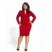 Czerwona sukienka z dzianiny KM08PS