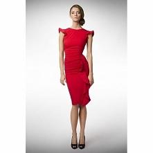 Czerwona sukienka z falbanką KM66