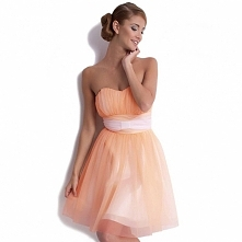 Łososiowa sukienka z szyfonu na wesele KM62
