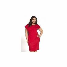 Satynowa czerwona sukienka na wesele KM04PS