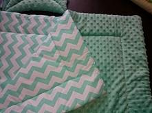 Kolderka dziecięca Zielone minky i bawełna w miętowy zygzak :-)