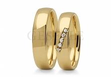 ST 270 Eleganckie złote obrączki ślubne z cyrkoniami Swarovskiego lub brylant...