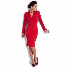 Czerwona sukienka dzianinowa KM08