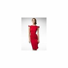 Czerwona dopasowana sukienka z falbanką KM66PS
