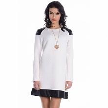 Pikowana sukienka z długim rękawem 0331