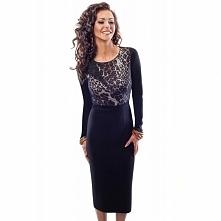 Czarna sukienka taliowana 18035