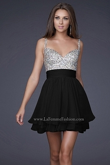 2015 Black Chiffon Short Party Homecoming Dresses La Femme 16813